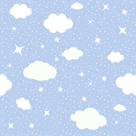 Cute seamless baby pattern of cloud,the stars, the moon. Vector