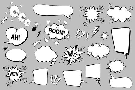 Set of comic speech bubbles. Cartoon icons. Vector Illustration 向量圖像