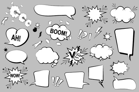 Set of comic speech bubbles. Cartoon icons. Vector Illustration Illustration