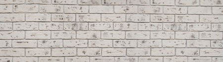 Vintage white wash brick wall texture for design. Panoramic background for your text or image Stock Photo