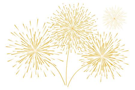 Feux d'artifice d'or du nouvel an festif isolé sur fond blanc. Illustration vectorielle. Conception plate