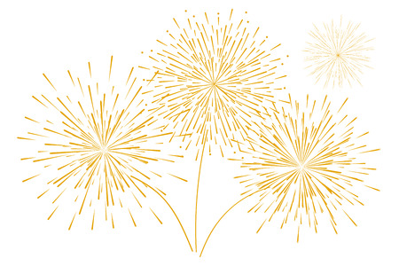 Festive new years Golden fireworks isolated on a white background. Vector illustration. Flat design