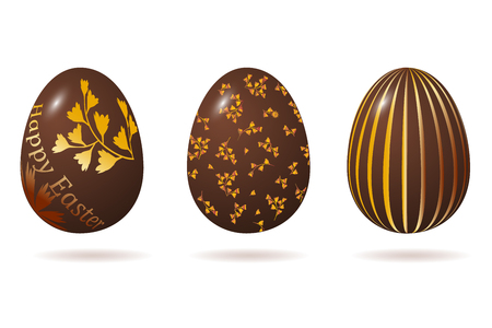 Easter egg 3d. Chocolate brown eggs set. Isolated on white background. Happy Easter celebration. Vector illustration