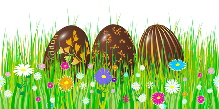 Easter egg 3d. Chocolate brown eggs set. Happy Easter celebration. Vector illustration. Stock Illustratie