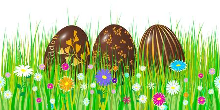Easter egg 3d. Chocolate brown eggs set. Happy Easter celebration. Vector illustration. 일러스트