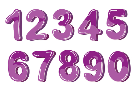 Vector funny cartoon bubble numbers. Isolated on white background