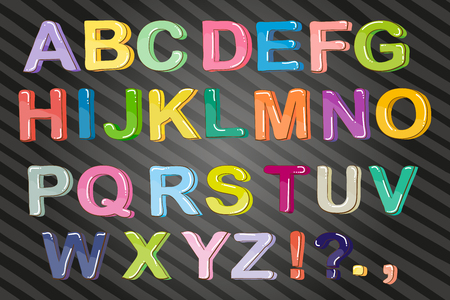 Funny cartoon multicolored bubble letters, vector Isolated on white background.