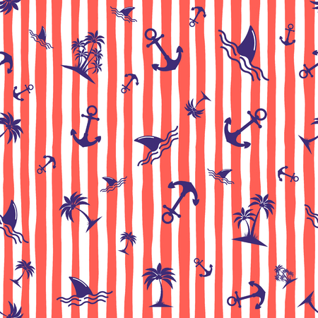 Seamless pattern with anchors. Background in marine style. Vector illustration Çizim
