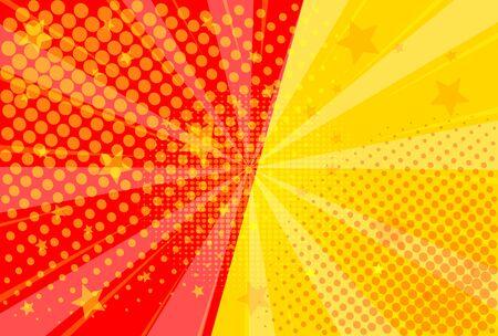 Pop art retro comic. Yellow and red background. Versus lightning blast halftone dots. Cartoon vs. Vector Illustration