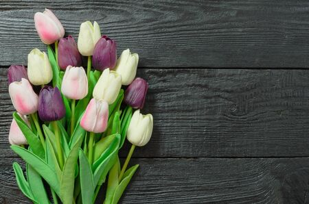 Beautiful Tulip flowers on a dark, black wooden background. Spring bouquet. Flat lay, top view, copy space. Stockfoto