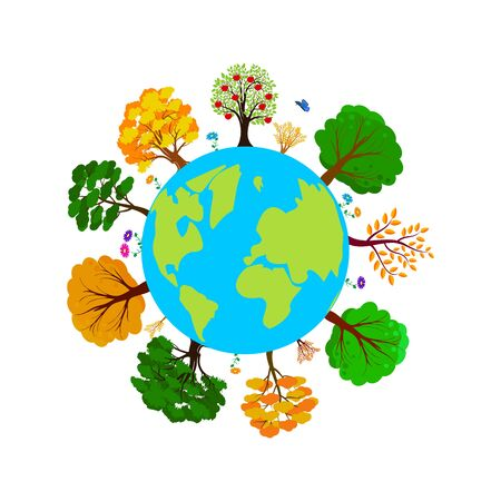 Earth day. Ecology concept with Green Eco Earth and Trees. World environment day background. Save the earth. Vector illustration