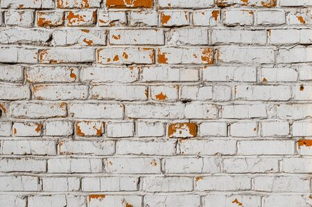 White grunge brick wall background and texture