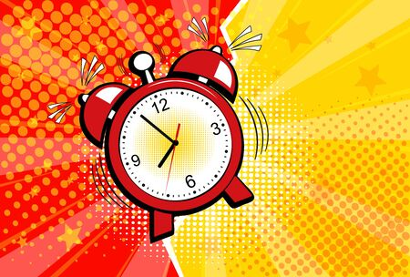 Red alarm clock in pop art style . Vector halftone retro comic texture. Yellow background superhero. Lightning blast halftone dots.