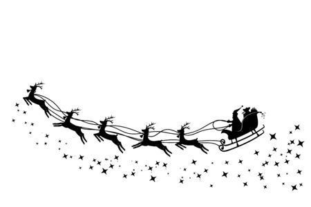 Santa Claus in a sleigh and with reindeer. Vector illustration
