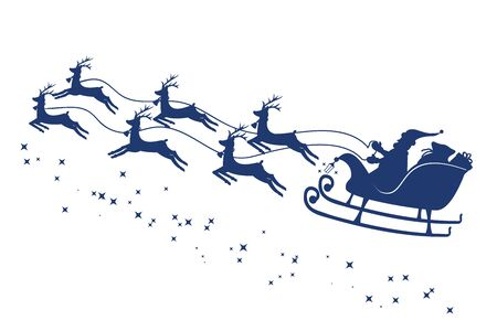 Santa Claus in a sleigh and with reindeer. Vector Çizim