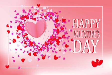Happy Valentines Day lettering Greeting Card .Vector illustration.