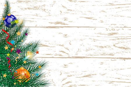 Merry Christmas greeting card with Christmas decor fir twigs and confetti on a wooden background. Beautiful new year background . Vector Çizim