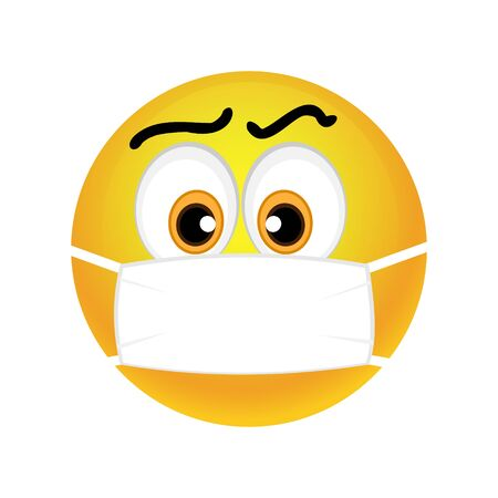 Emoticon with medical mask over mouth. Vector
