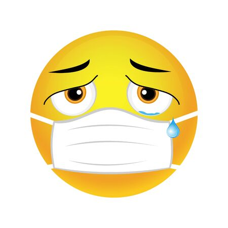 Smiley face is sick and crying with a medical mask, vector.