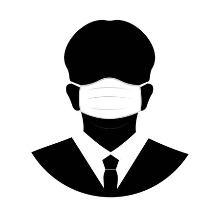 Silhouette of a masked man in a coronavirus outbreak, flat silhouette of person head with hygienic medical mask.