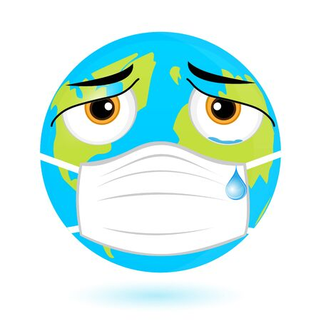 Planet Earth in a mask. The concept of the fight against coronavirus. Emoticon of the earth against the virus.Vector. Çizim