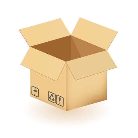 Cardboard box isolated on a white background. Vector illustration.