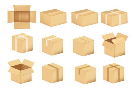 Set of cardboard boxes isolated on a white background. Vector illustration.