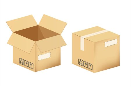 Set of cardboard boxes isolated on a white background. Vector illustration