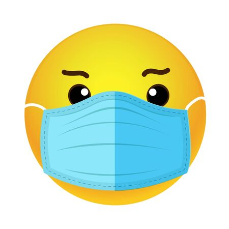 A sad emoticon with a medical mask over its mouth. illustration