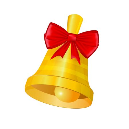 Christmas or school bell with a bow. Vector illustration.