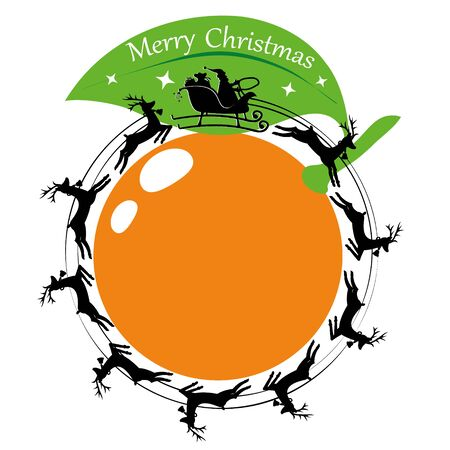 Santa Claus in a sleigh and with reindeer spinning around orange. Vector illustration 向量圖像