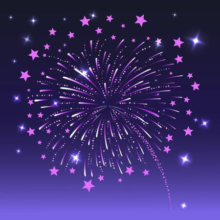 Festive bright new years fireworks . Vector illustration.