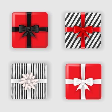 Set of Christmas colorful red and black gift boxes with bows and ribbons, top view. Vector illustration.