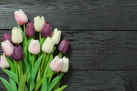 Beautiful Tulip flowers on a dark, black wooden background. Spring bouquet. Flat lay, top view, copy space. 版權商用圖片
