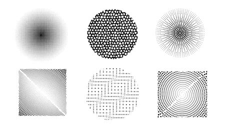 Vector set of halftone design elements. Abstract circles with dotted gradient halftone effect. Black dots