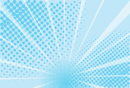 Blue and white background of the Book in comic style pop art superhero. Lightning blast halftone dots. Cartoon vs. Vector Illustration