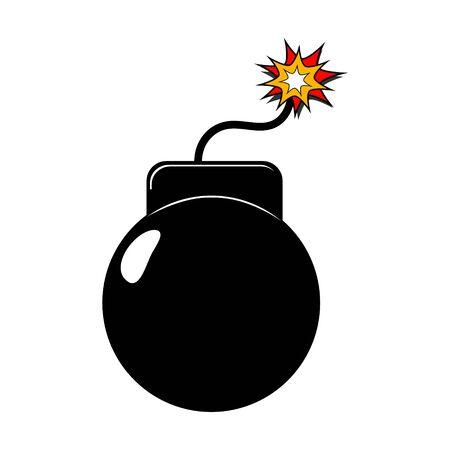 Bomb or dynamite. Flat cartoon icon. Vector illustration