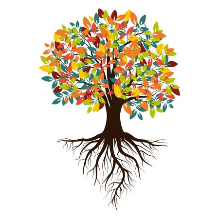 Autumn silhouette of a tree with colored leaves. Tree with roots. Isolated on white background. Retro 80s style colors. Vector Illustration.