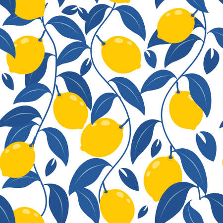 Tropical abstract seamless vector blue pattern with lemon, leaves. For printing and wallpaper.