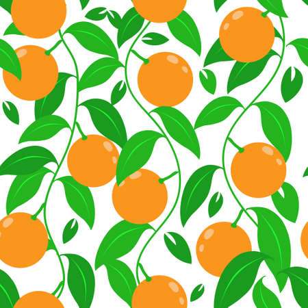 Tropical abstract seamless vector pattern with an orange, leaves. For printing and design. Иллюстрация