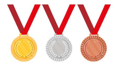 Set of medals - gold, silver and bronze. Vector illustration.