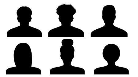Vector silhouette of a person in profile. Icons of peoples portraits. Women and men