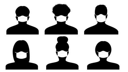 Vector silhouette of a person in profile in medical masks. Icons of peoples portraits. Women and men