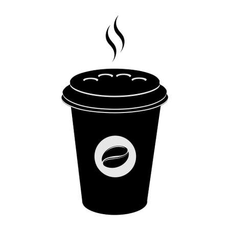 Coffee cup icon. Hot drinks glasses symbols. Flat icons on white. Vector illustration.