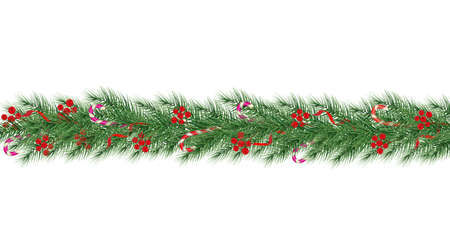 Holidays Background with Season Wishes and Border of Realistic Looking Christmas Tree Branches Decorated with Berries. Vector. 向量圖像