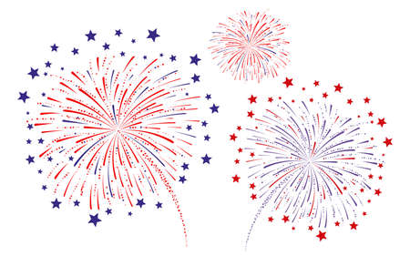 Fireworks on a white background Vector illustration