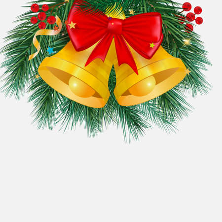 Merry Christmas background, postcard with. Christmas trees, balls, bells. Vector 向量圖像