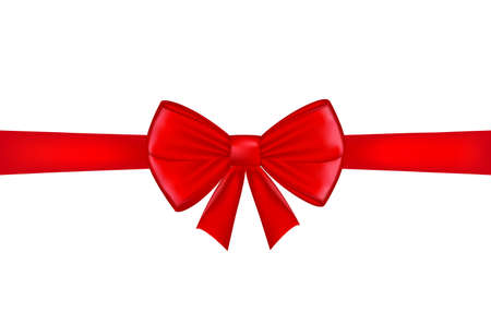 Red ribbon with bow on a white background. Vector