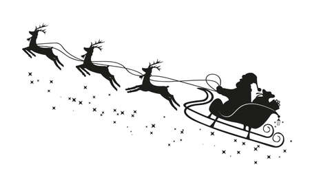 Santa Claus in a sleigh and with reindeer. Vector 矢量图像