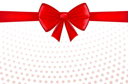 Red bow with ribbon and space for text. Gift voucher. Certificate or discount card template for promo compliment. Vector Ilustração
